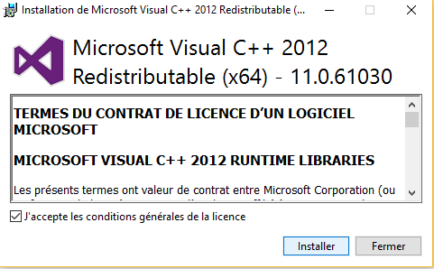 Redistribuable Visual C++ pour Visual Studio 2012 Update 4
