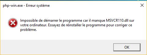Erreur MSVCR110.dll lors du lancement de Wamp