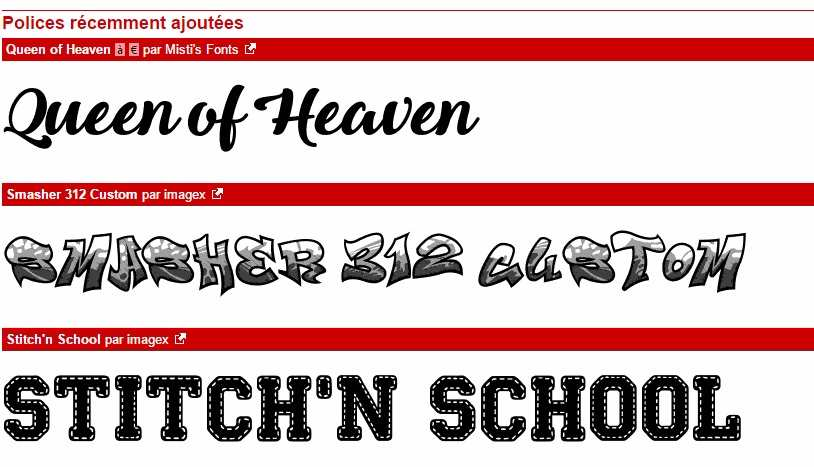 Typographies sur le site dafont