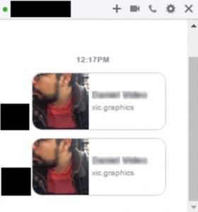 Voici à quoi ressemble le message infecté reçu.