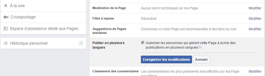 Publier en plusieurs langues sur Facebook