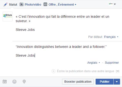 Facebook : un statut en Français et en Anglais