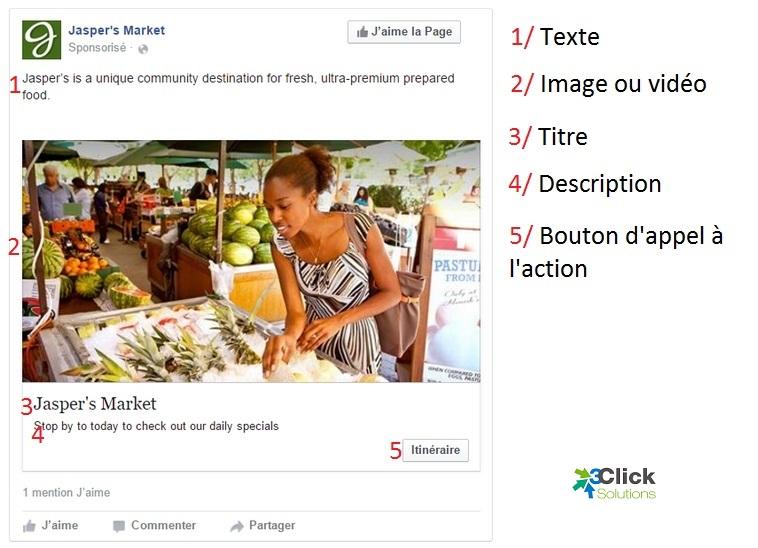Exemple de création de publicité sur Facebook