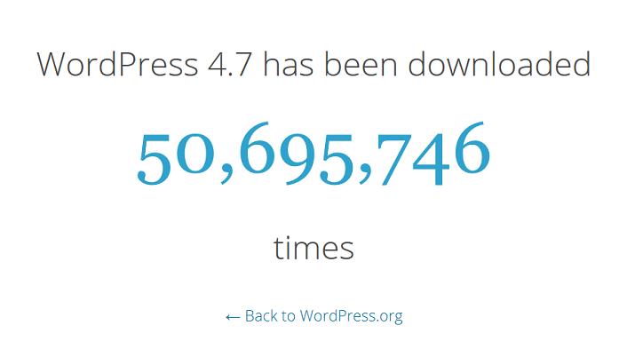 La version 4.7 de WordPress 4.7 a été téléchargé plus de 50 millions de fois