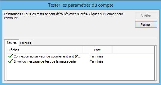 Outlook : tester les paramètres du compte