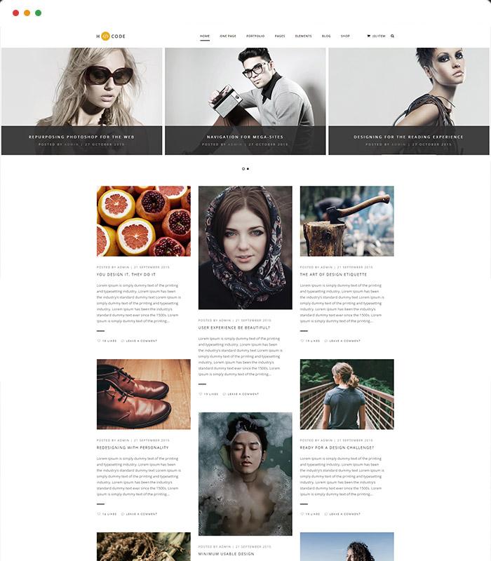 H-Code blog thème WordPress