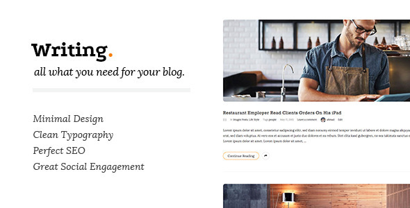 Writing blog thème WordPress